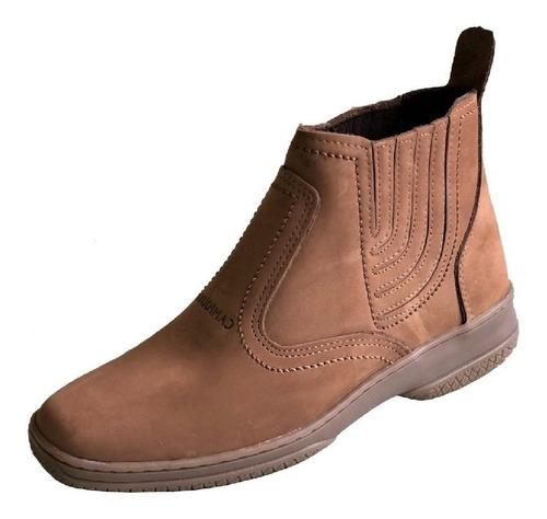 bota couro camurça nobuck botina baixa rasteira solado estilo sapatenis tenis masculina feminina unisex marrom claro