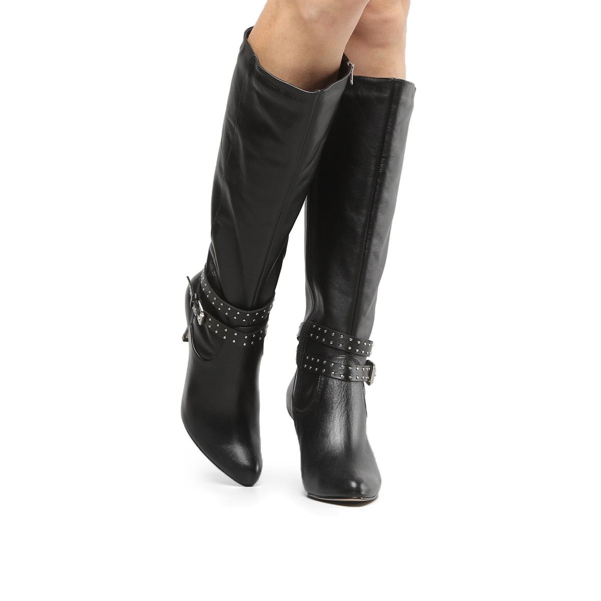 7f530bca2 Bota Couro Cano Alto Shoestock Tira Hotfix Feminina - R$ 299,90 em ...