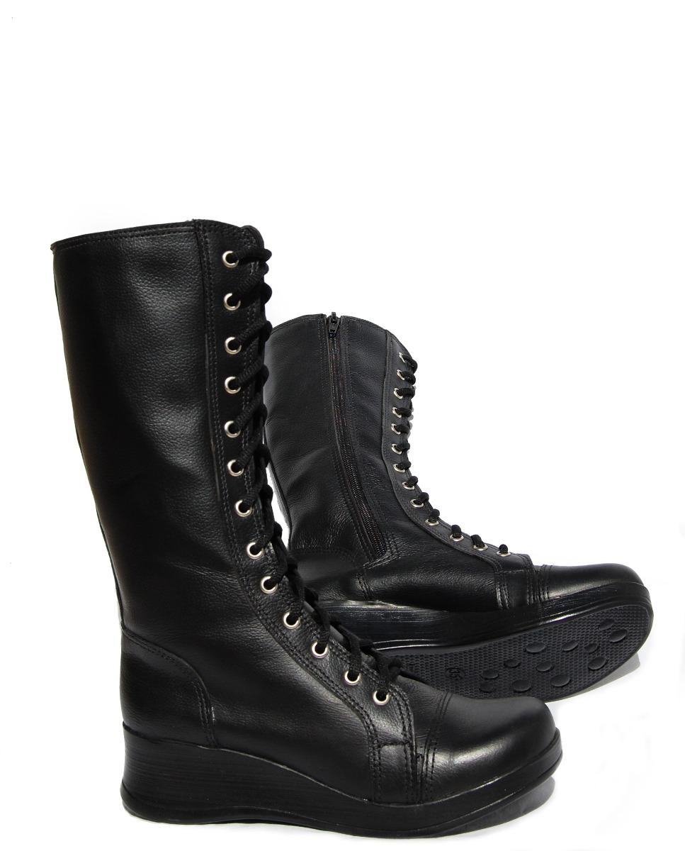 6ed08e630 bota couro estilo coturno militar dark gótico solado anabela. Carregando  zoom.
