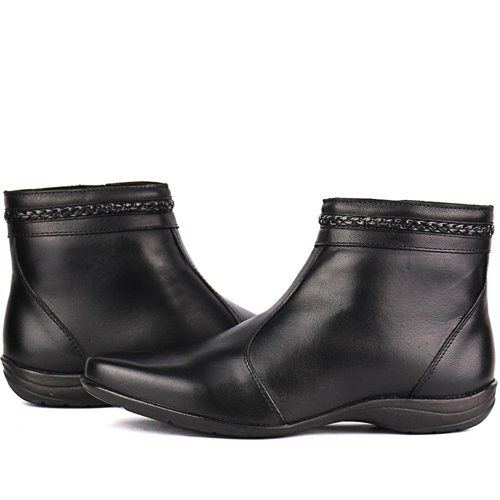 bota couro legitimo casual preto feminina cano curto zíper. Carregando zoom. 08f7c022bc933