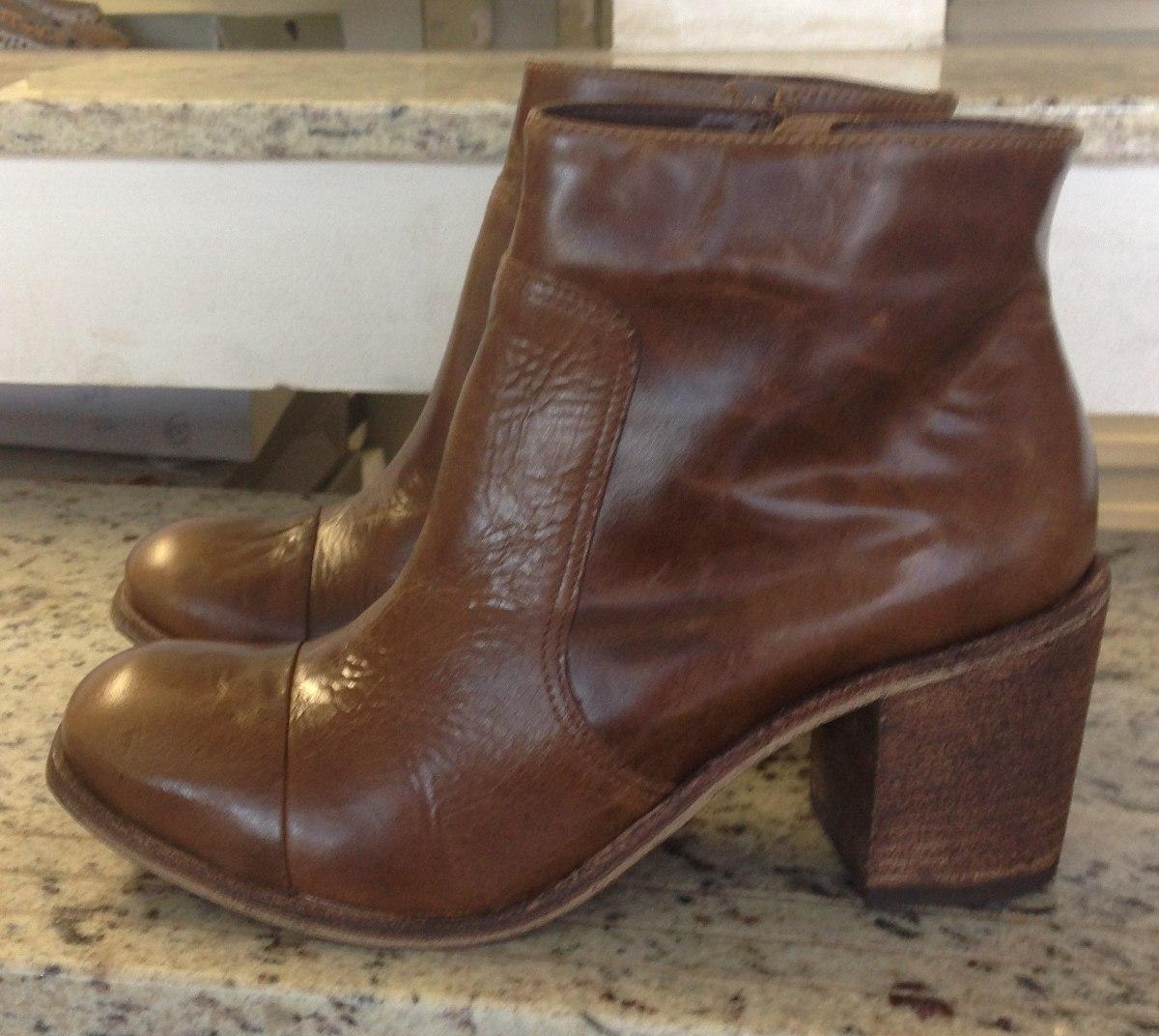 bota couro legítimo feminina cano curto zíper. Carregando zoom. 3b0d3c6126199