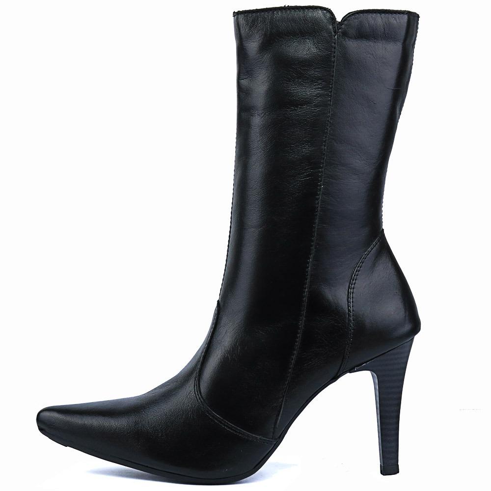 7749d0aea bota couro legitimo feminina preta ziper calça jeans inverno. Carregando  zoom.