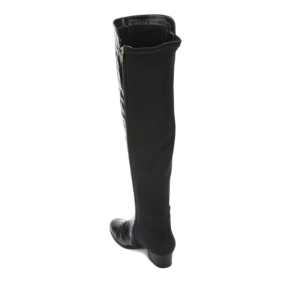 503e83c5b Bota Couro Over The Knee Shoestock Croco Feminina - R$ 229,90 em ...
