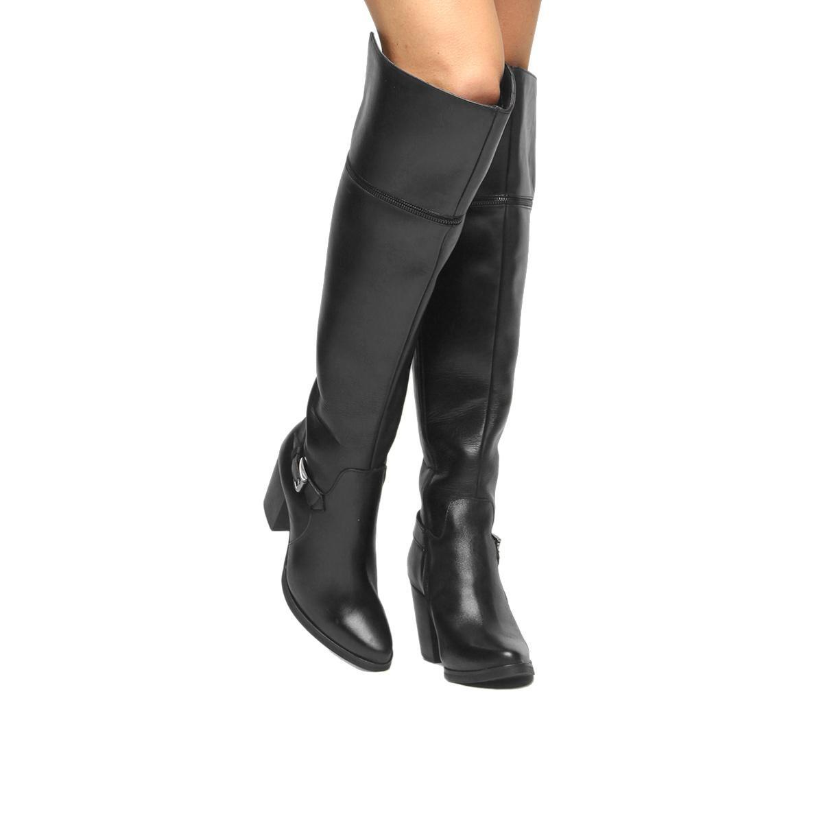 6a585beb3 Bota Couro Over The Knee Shoestock Fivela Feminina - R$ 329,90 em ...