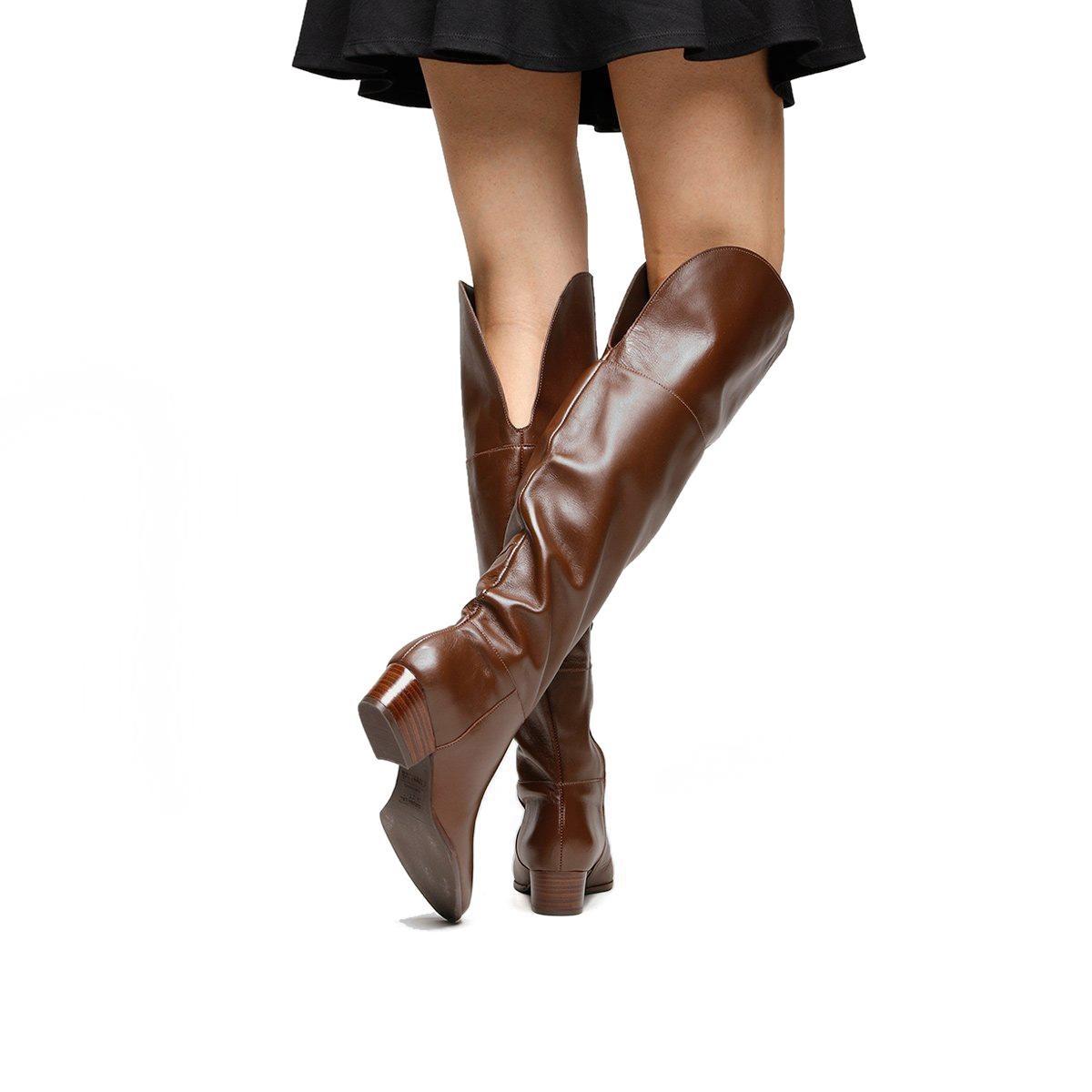 582e1ab66 Bota Couro Over The Knee Shoestock Zíper Feminina - R$ 299,90 em ...