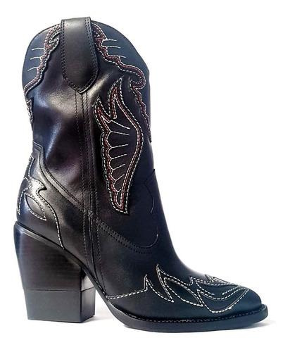 bota couro texana bordado c.médio s.grosso 9cm carrano 15150