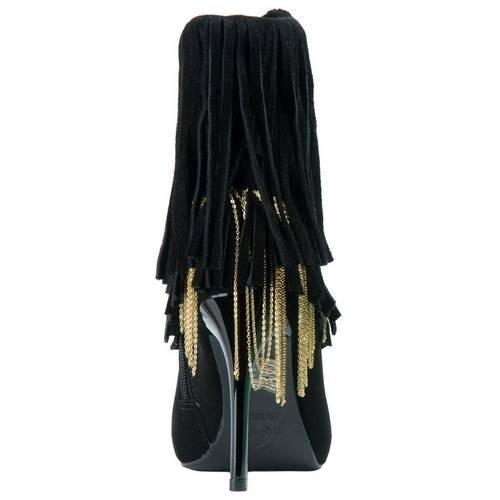 bota crysalis nobuck peep toe com franja e correntes ouro