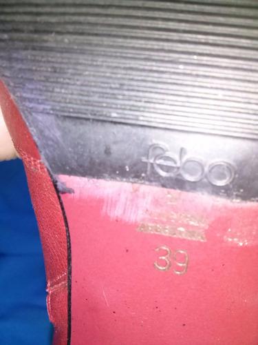bota cuero  color bordo  ( 39 )
