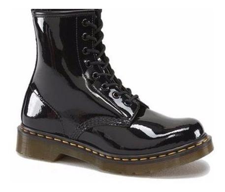 bota de charol negra, del 2 al 31, no dr martens