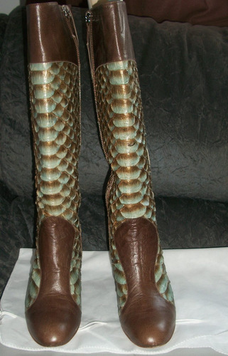 bota de couro de python faritaly - cor blue/ vermon café
