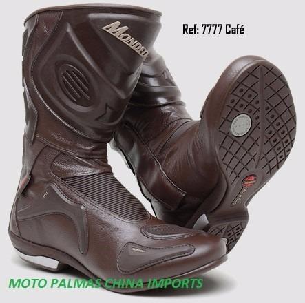 bota de couro motociclista soft race cano alto 7777