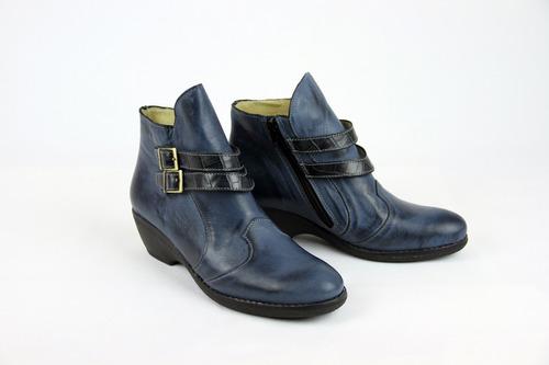 bota de cuero con 2 hebillas combinadas mujer