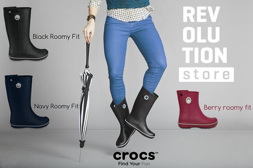 bota de lluvia crocs crocband jaunt w :: black roomy fit