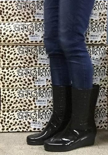 bota de lluvia de mujer - taco chino  art 6350