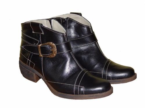 bota de mujer, tejana cuero forrest, color negro
