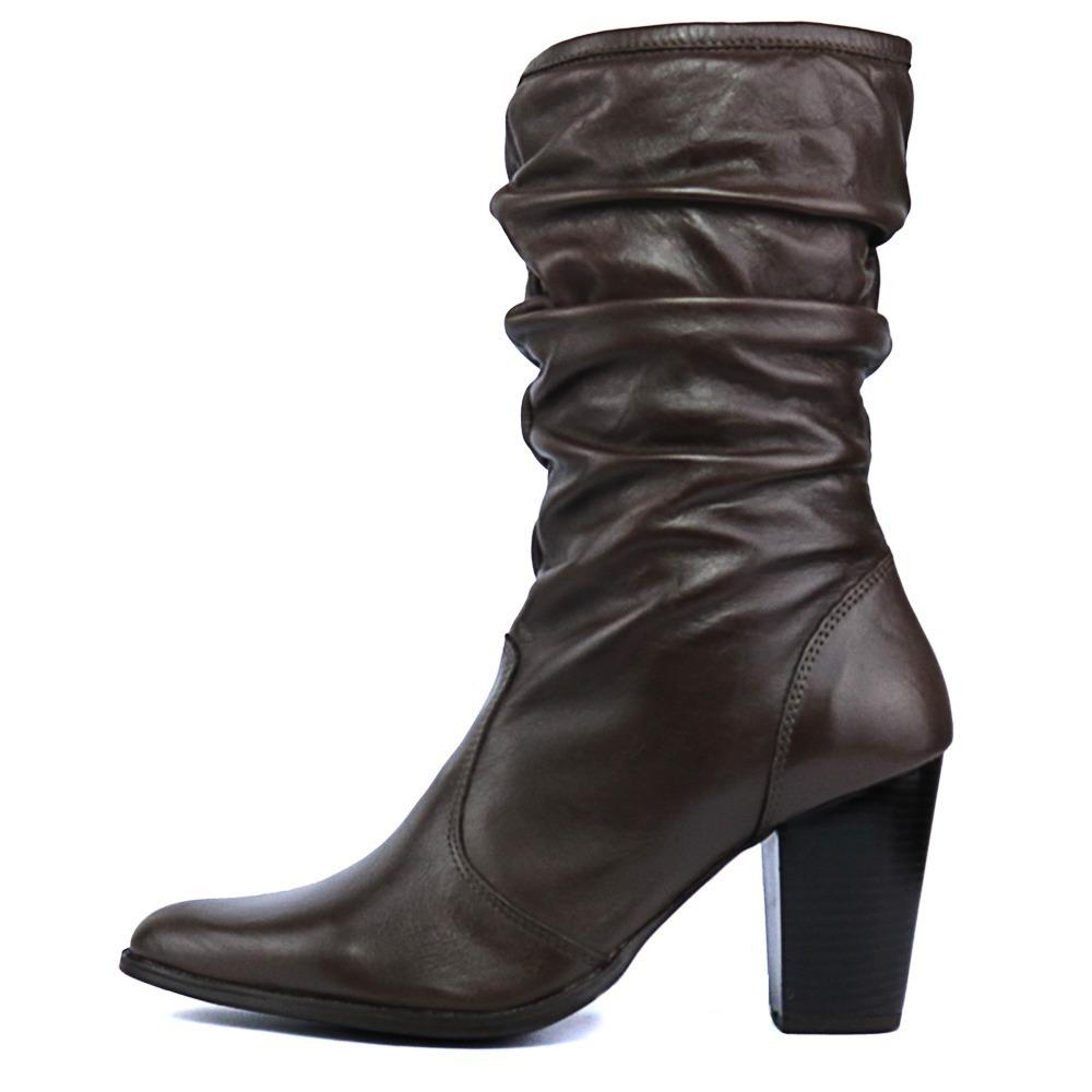 c3506435743 bota enrugada feminina café moderna bico fino salto alto. Carregando zoom.