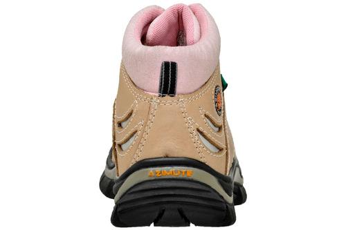 bota feminina azimute brasil em couro areia e rosa