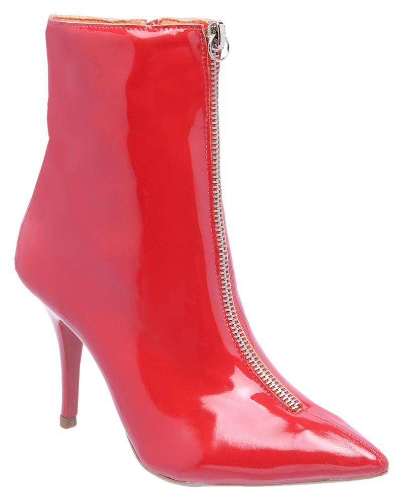 bedaed8c31 bota feminina bico fino cano baixo verniz com zíper. Carregando zoom.