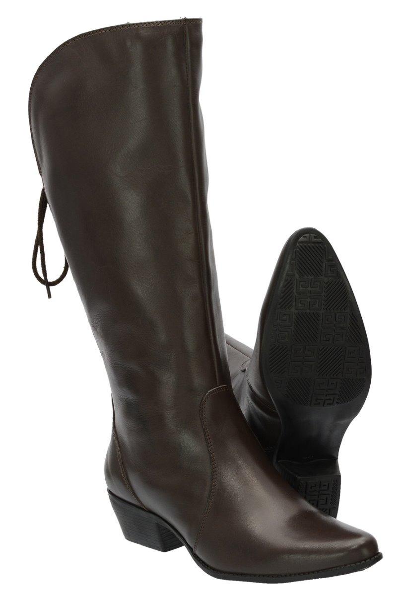 4acb6f89b bota feminina cano alto couro legitimo ajustavel confortavel. Carregando  zoom.