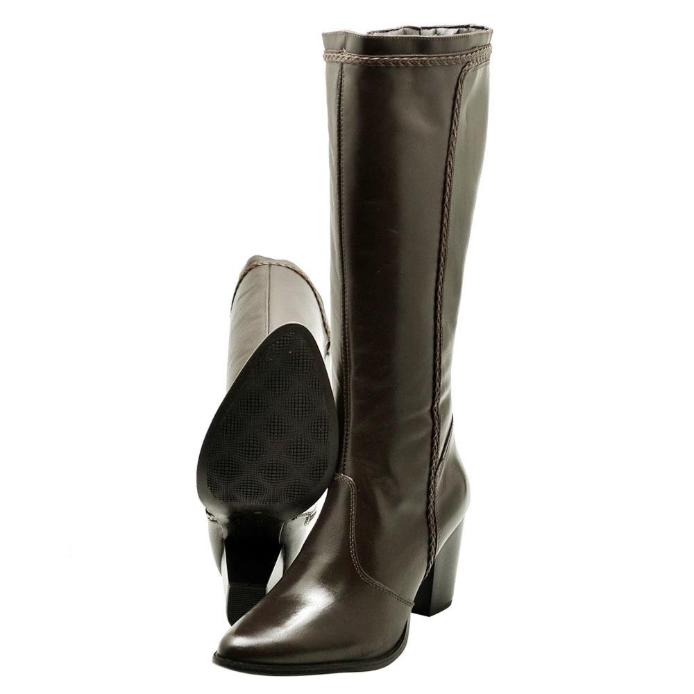 1bec37c90 bota feminina cano alto salto miuzzi couro café ref 1807. Carregando zoom.