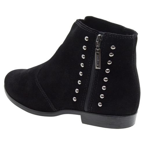 bota feminina cano baixo preto/camurça moleca -  5304108