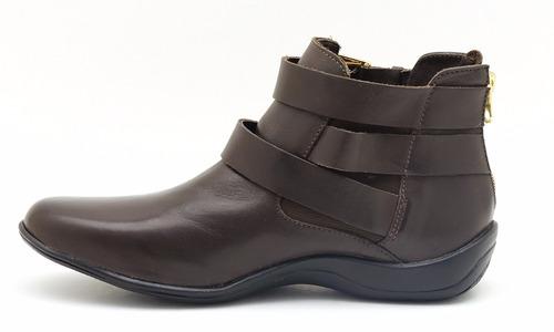 bota feminina cano curto atron couro 9301 --frete grátis