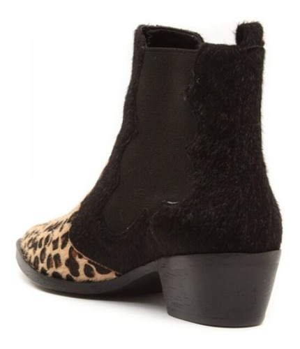 bota feminina cano curto bico fino rasteita animal print
