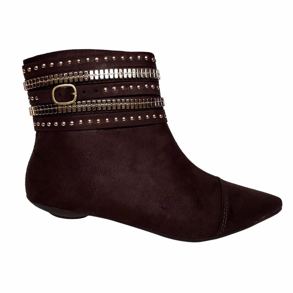 affe9d3039 bota feminina cano curto bico fino salto baixo oferta marrom. Carregando  zoom.
