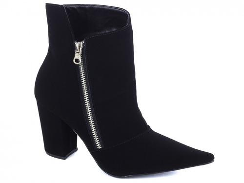 bota feminina cano curto bico fino torricella preta ziper