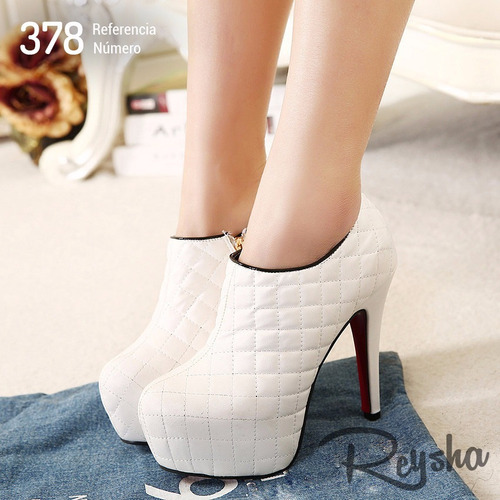bota feminina cano curto - branca  estilo importada ref: 378