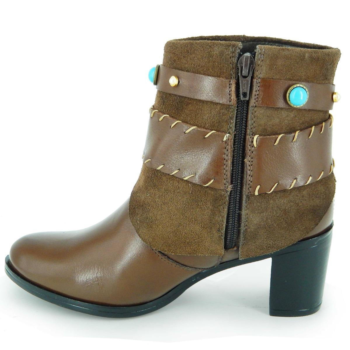 45a771851 bota feminina cano curto casual com salto em couro legítimo. Carregando zoom .