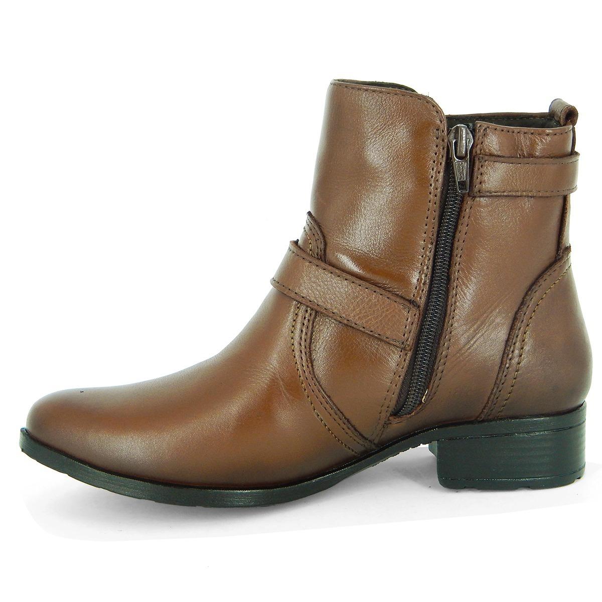 3bc3b9469 bota feminina cano curto com salto e ziper couro legítimo... Carregando zoom .