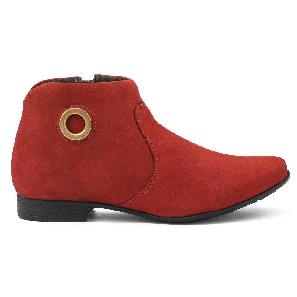 faebc551e8 bota feminina cano curto em couro camurça masson isabella... Carregando zoom .