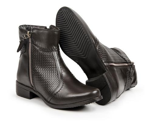 bota feminina cano curto em couro legítimo