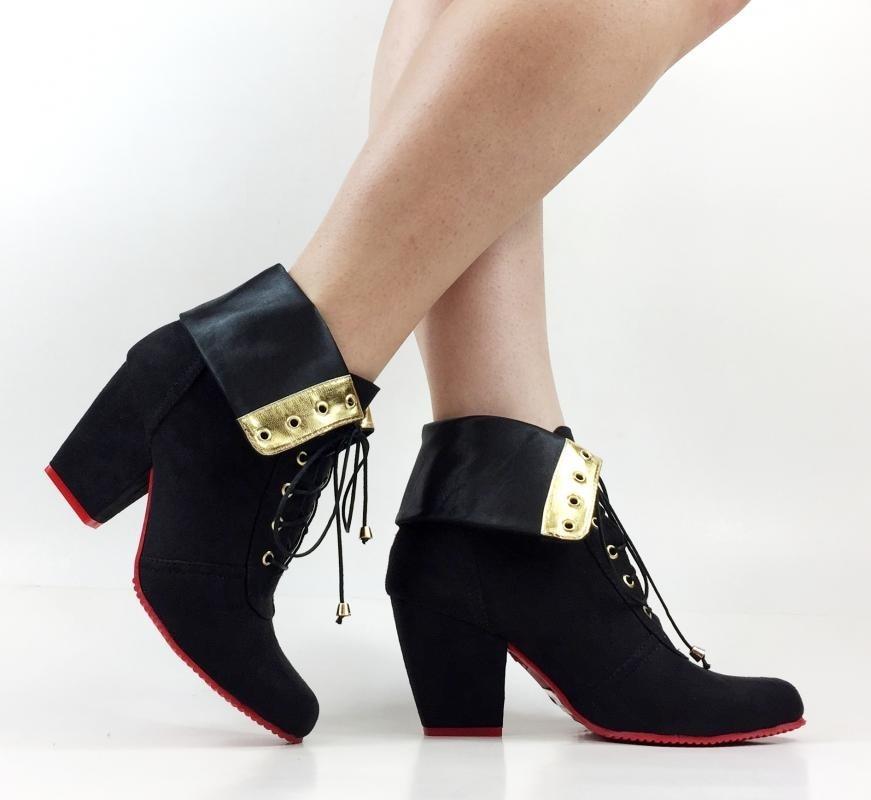 8b91bc7413 bota feminina cano curto preta salto grosso baixo botas frio. Carregando  zoom.