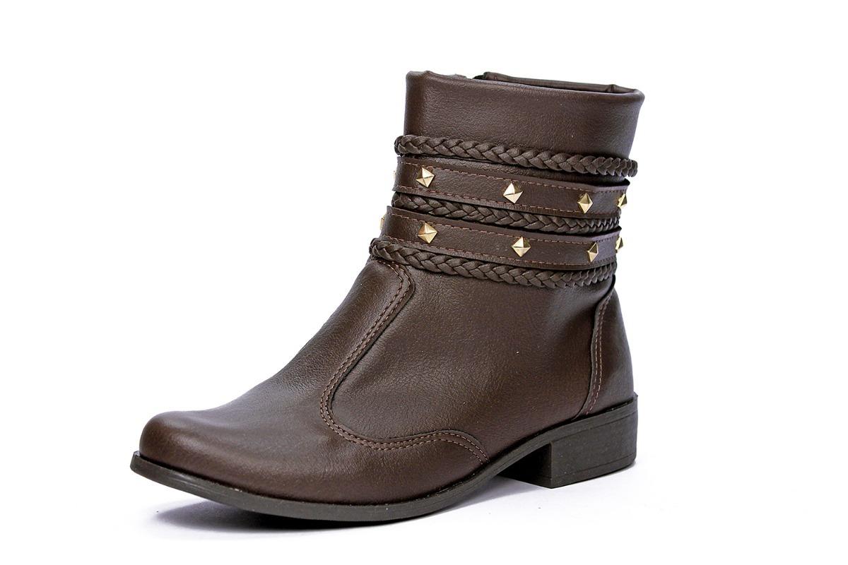 b00e265db1 bota feminina cano curto tachas tiras sem salto marrom café. Carregando  zoom.