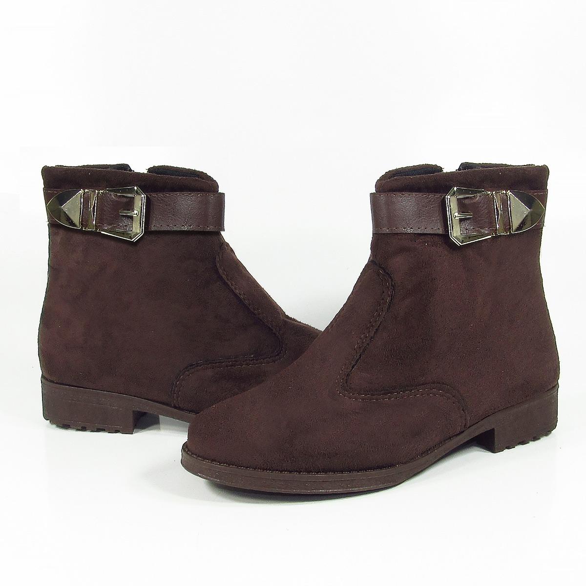 e56ad4af55 bota feminina cano curto zíper camurça marrom montaria linda. Carregando  zoom.