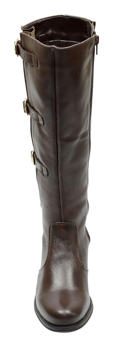 f07acc345 bota feminina cano longo ajustável couro legítimo montaria. Carregando zoom.