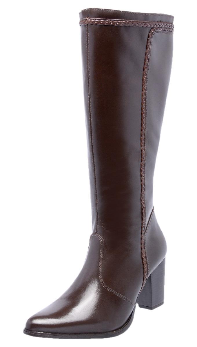 44bb0cdd33 bota feminina cano longo salto alto couro natural marrom dhl. Carregando  zoom.