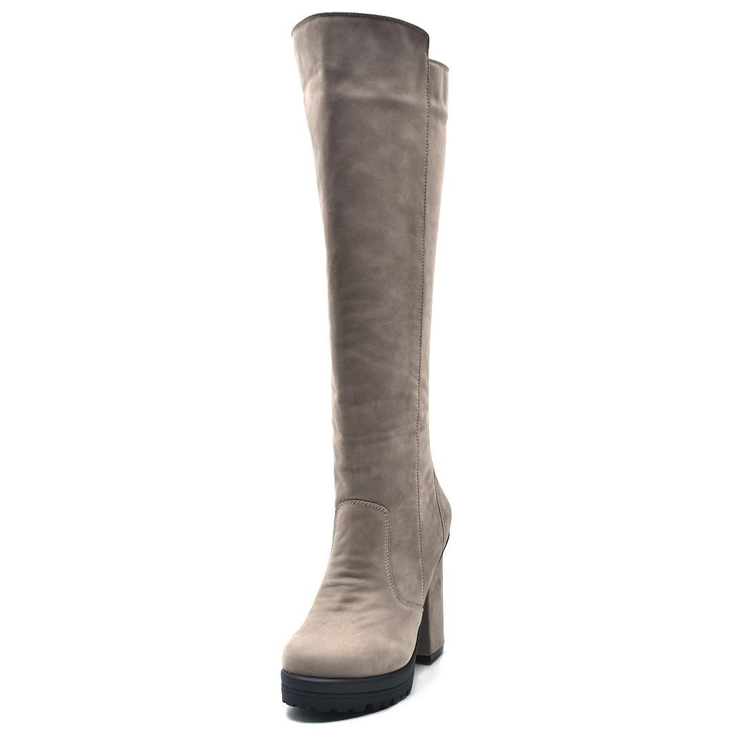 bed848aab6 Bota Feminina Cano Longo Salto Grosso Over Knee Em Couro - R  248