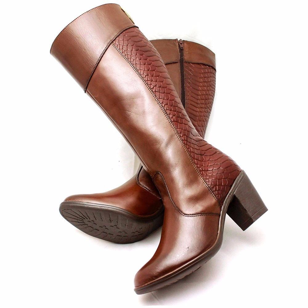 f1a78c1c92 bota feminina cano longo ziper couro salto frio inverno. Carregando zoom.