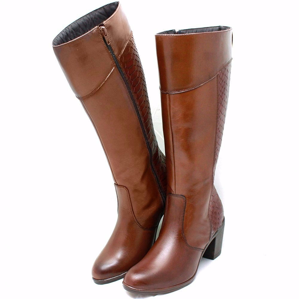 fa55f99276 bota feminina cano longo ziper couro salto frio inverno over. Carregando  zoom.