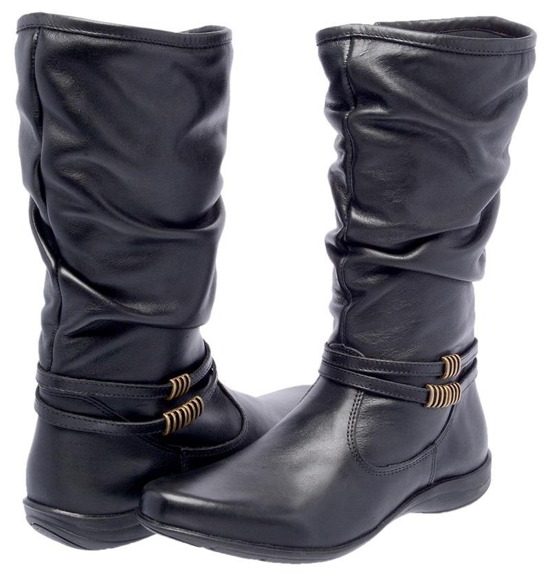 dba860eee0b bota feminina cano médio couro legítimo rasteira inverno. Carregando zoom.