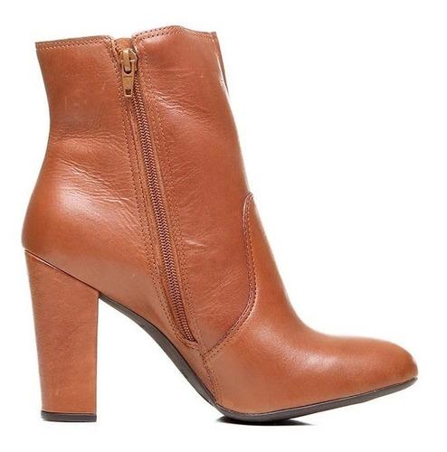 bota feminina cano médio couro parô brasil caramelo