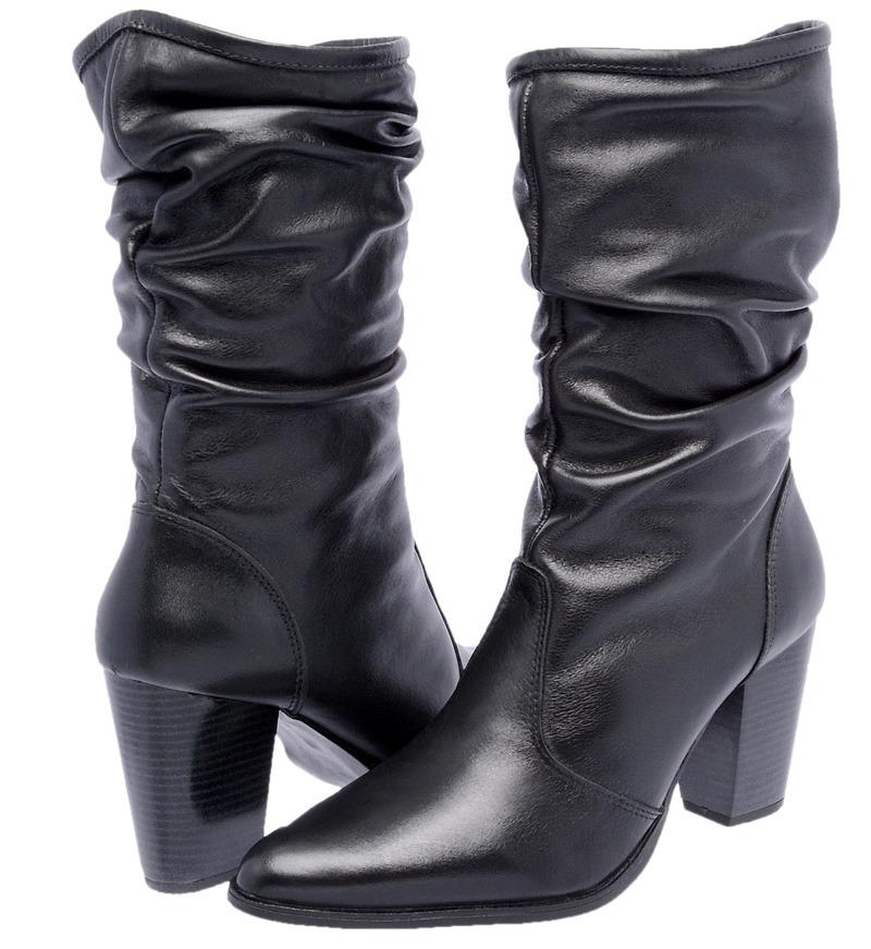 ddf99d742a7 bota feminina cano médio salto alto grosso couro nobre zíper. Carregando  zoom.
