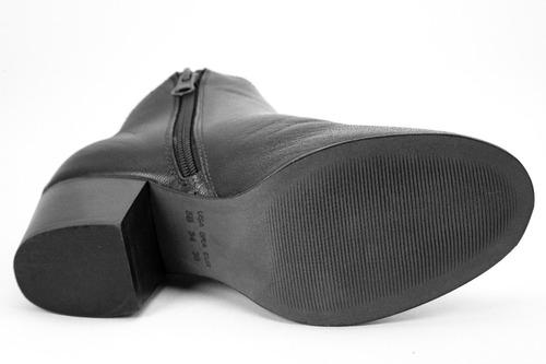 bota feminina comfort - bico redondo - couro de carneiro pto