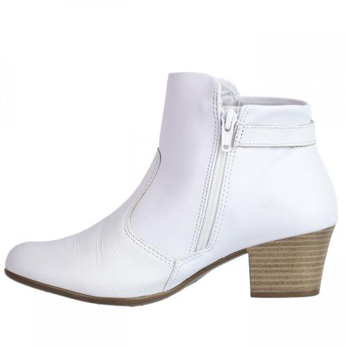2b68780bb Bota Feminina Comfortflex Branca Couro Cano Curto 1699301 - R$ 199 ...