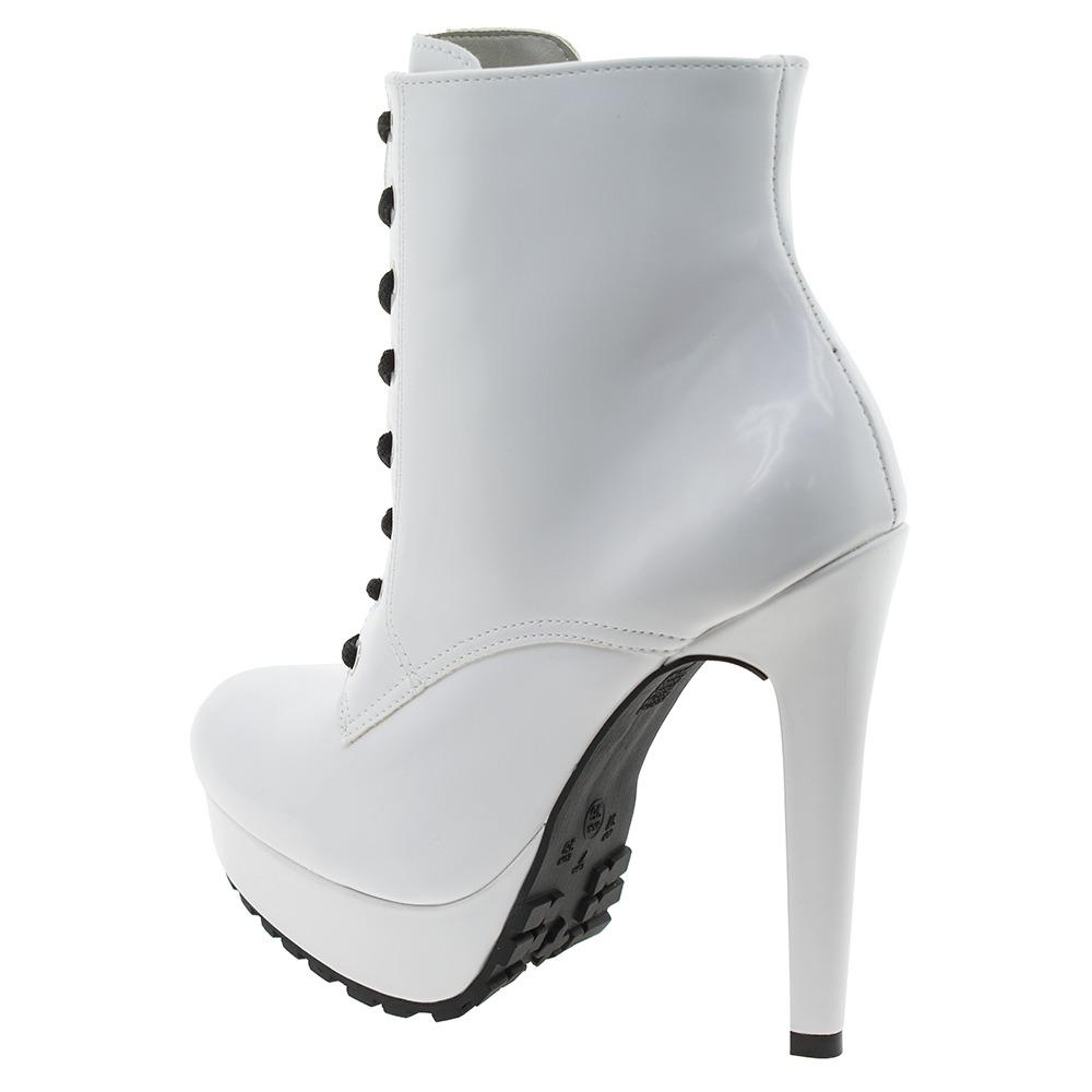 e9ebc17f8 bota feminina coturno branca via marte - 167356. Carregando zoom.