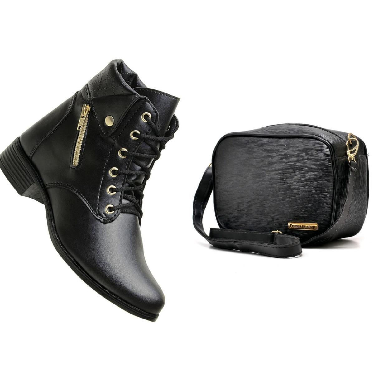 d7dc0c9fe bota feminina coturno cano curto + bolsa mini bag exclusivo. Carregando zoom .
