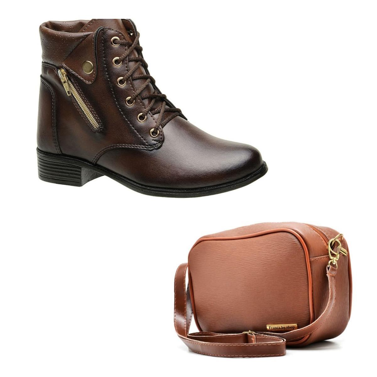 7b215a899 bota feminina coturno cano curto + bolsa mini bag kit top. Carregando zoom.